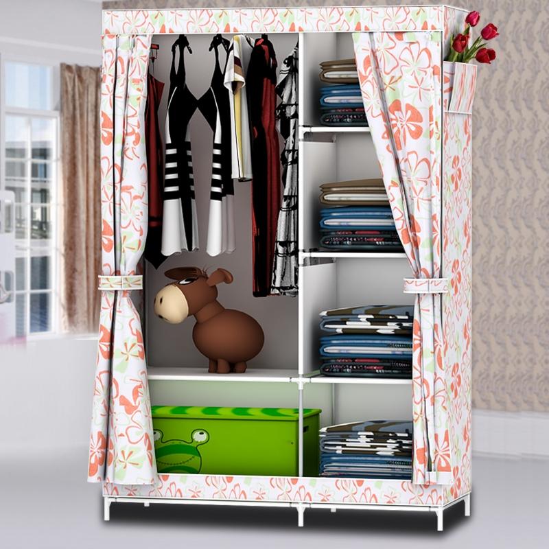 俏丹優品簡易組裝布藝衣櫃 簡約韓式拉門衣櫥大容量衣櫃