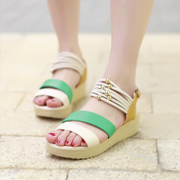 2015 summer styles in the Korean version with wedge Sandals flat thick-soled platform Rome student leisure Sandals Women's shoes