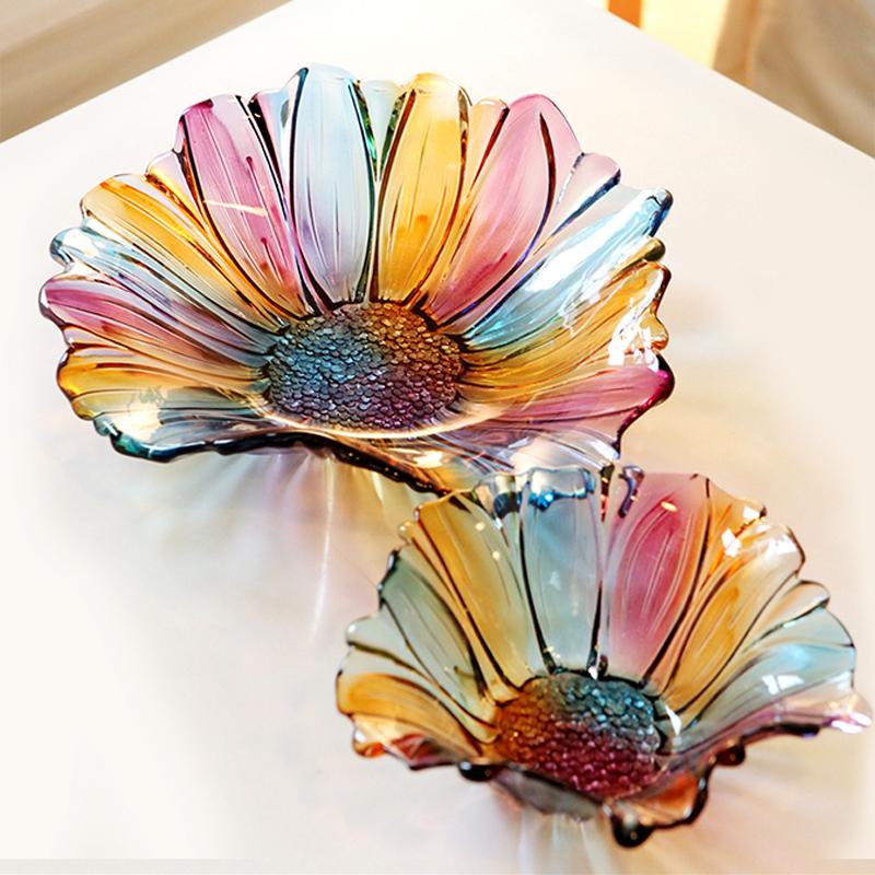 玻璃歐式果盤 意式 水果盤 擺件幹果盤裝飾盤婚慶 托盤