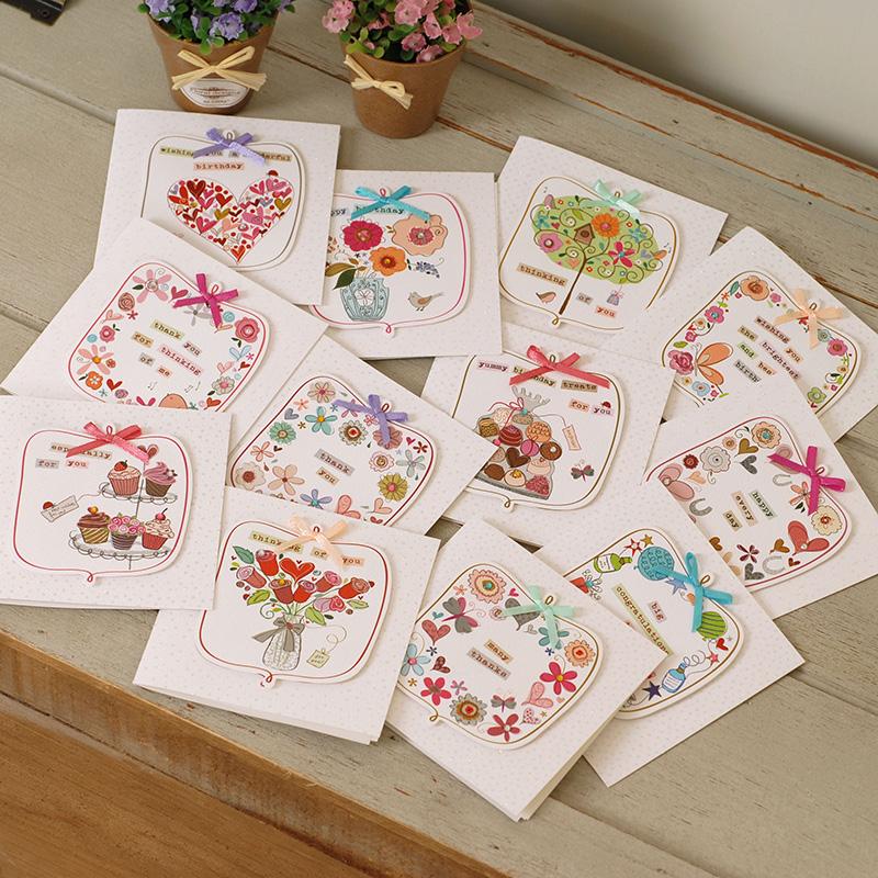 伊和诺迷你可爱剪贴正方形祝福卡感谢卡万用卡生日卡MINI-1513