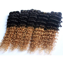 Brazilian deep wave hair ombre color 1 b 27 gradient sending human hair curl