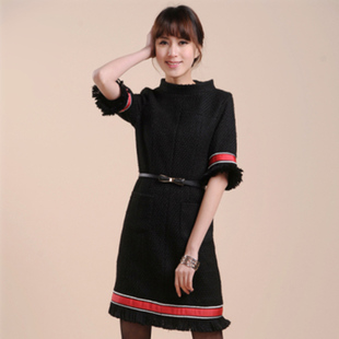 Exclusive custom models with European and American stars banquet woolen skirt Slim dress in red and black spell will end banquet dress skirt