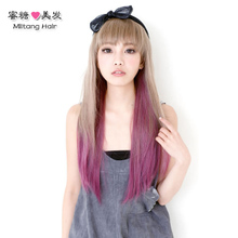 A chip highlights a wig Color gradient and hair wigs Color of hair piece gradient long straight hair wigs