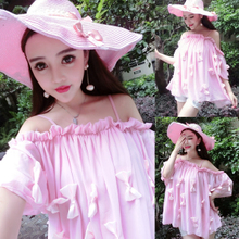 In the summer of 2015 the new Europe and the United States tide female fashion sexy bowknot off-the-shoulder loose strap chiffon dress