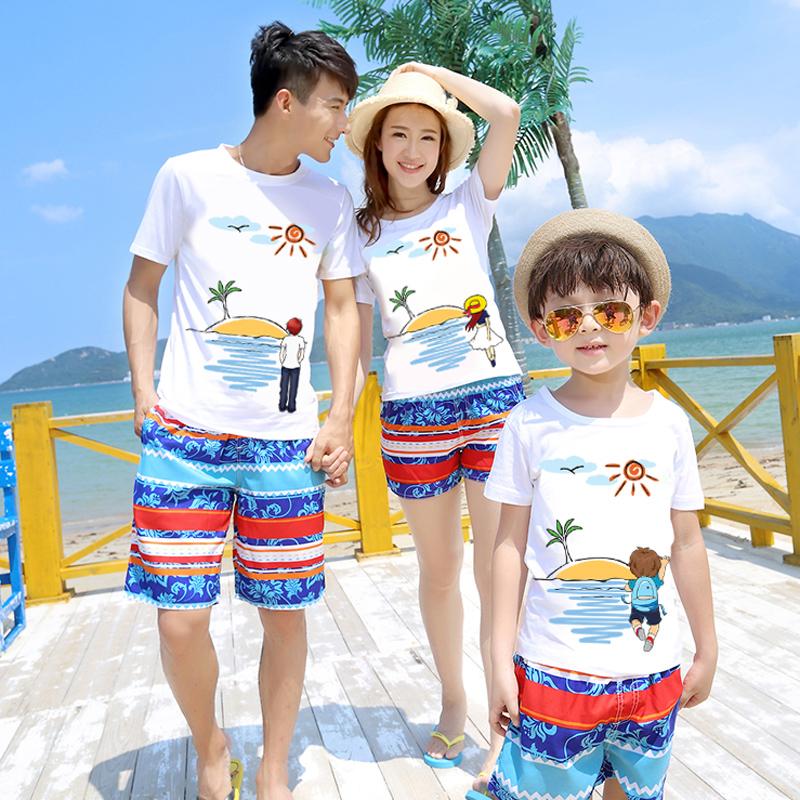 夏裝2016款三口沙灘親子裝短袖t恤海邊全家裝母子母女家庭裝套裝