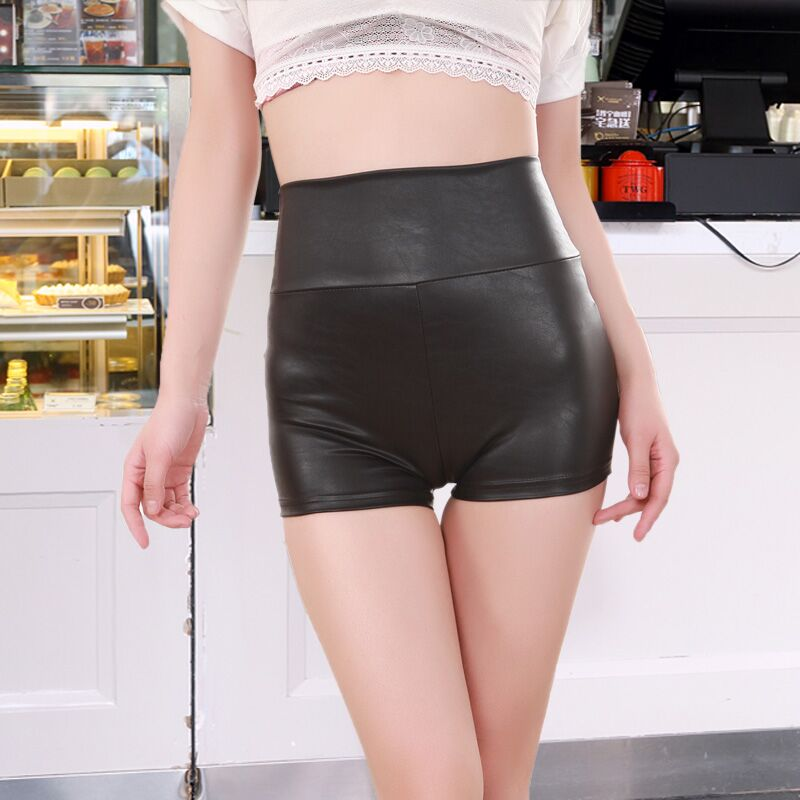 2021 new high waist leather pants womens leather shorts wear bottomed pants elastic pants Tight Sexy Boots and pants