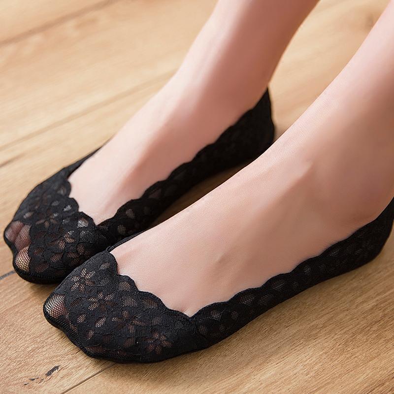 日韩蕾丝花边袜底女纯棉春夏浅口防滑隐形袜不掉跟船袜女士低帮袜