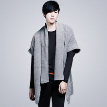 Han edition in the fall and winter sweater half sleeve sweater cardigan scarf get male sweater cloak short-sleeved sweater to wear outside