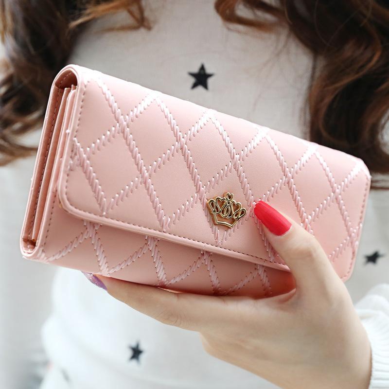 2017年新款韩版潮薄时尚女士长款钱包皮夹手拿竖款折叠多钞位