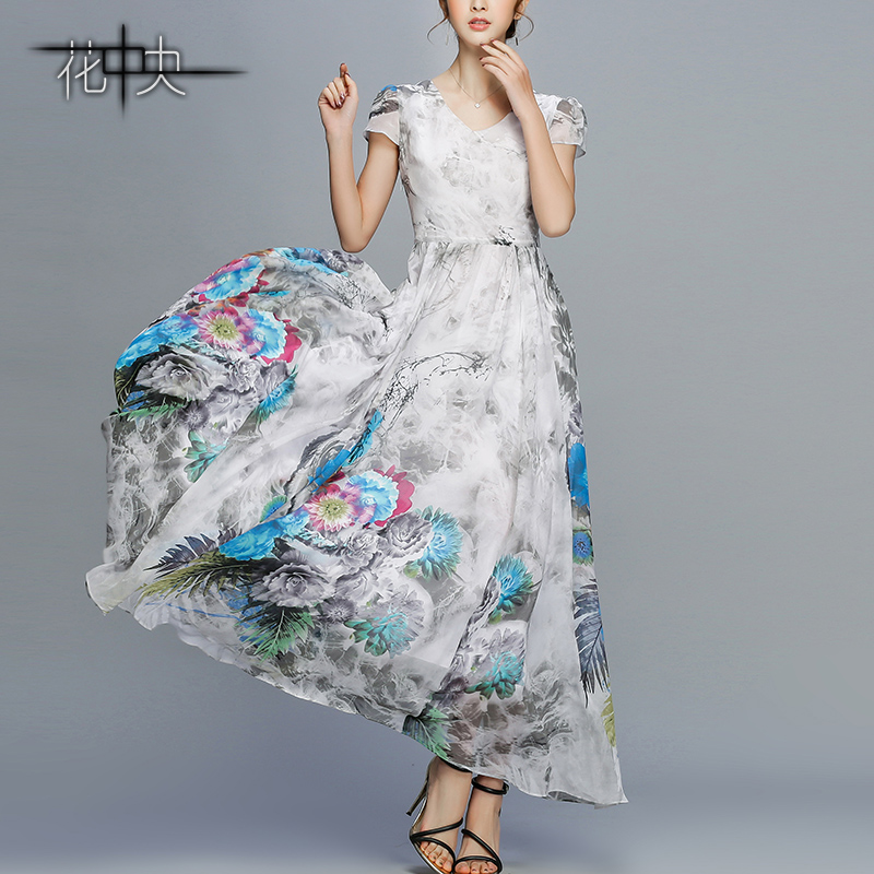 花中央复古水墨长裙高腰大摆裙雪纺连衣裙大码沙滩裙波西米亚裙子