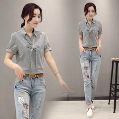 157-1款 韩版夏季新款条纹短袖+牛仔裤两件套新品裤裙显瘦时尚p70