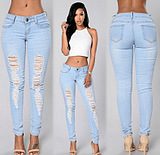 fashion ripped jeans women pants trousers джинсы 5025