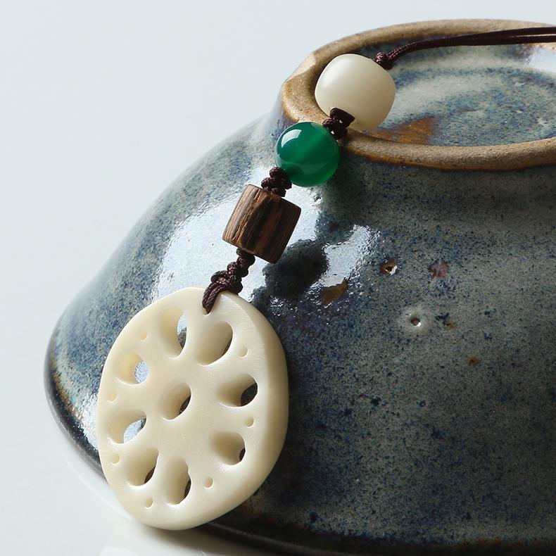 親寶水晶天然罕見白玉菩提蓮藕狀掛件 配綠玉髓雞翅木配飾手串