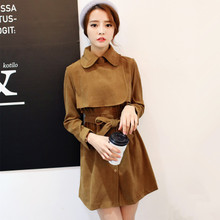 FST2015 autumn outfit new han edition cultivate one's morality show thin thin deer velvet skirt suit is brought in a long dress