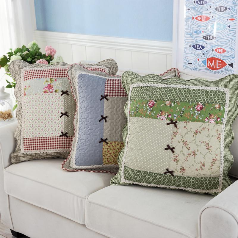田園純棉靠枕絎縫布藝沙發抱枕含芯辦公室歐式床頭靠墊抱枕套