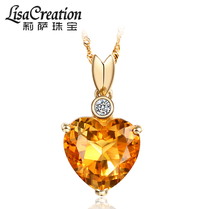 Lisa Jewelry Heart Shaped 3.4 carat natural Topaz Pendant 18K gold necklace with colorful Gemstone Pendant