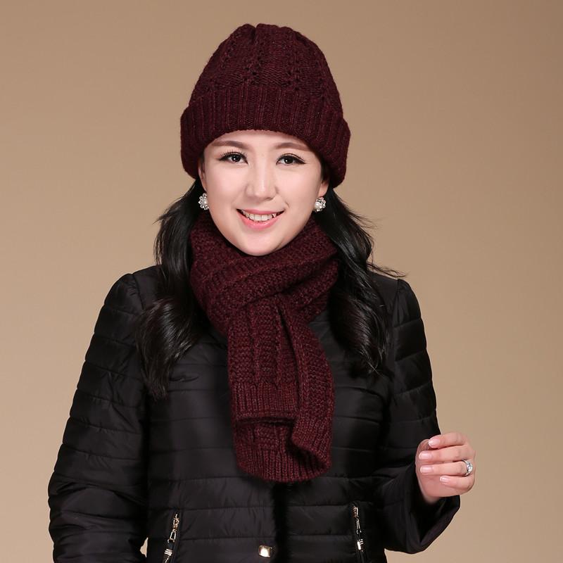 妈妈帽子女 秋冬天老太太保暖帽子围巾两件套羊毛针织帽毛线围巾