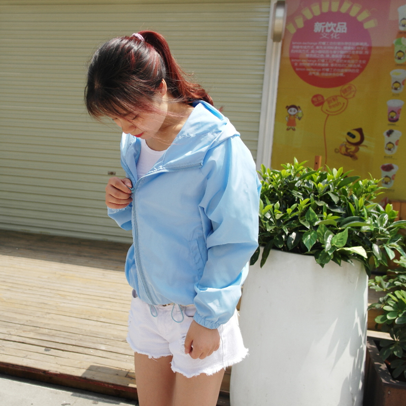Womens Beach sunscreen shirt sports casual Hooded Jacket short thin summer solid long sleeve cardigan Korean candy