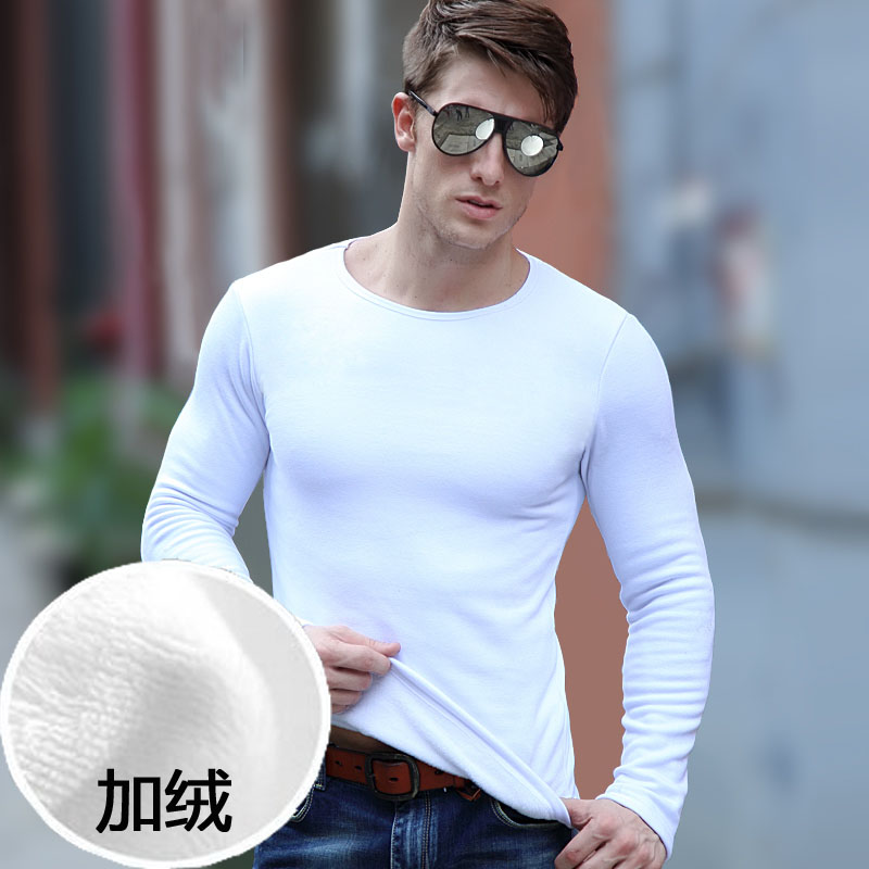 Pure white thermal underwear mens one-piece top Plush thickened round neck youth Korean slim fit and tight outer wear in winter