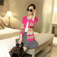 The new spring 2015 loose cardigan sweater stripe Women's knitwear manufacturers selling women's wear