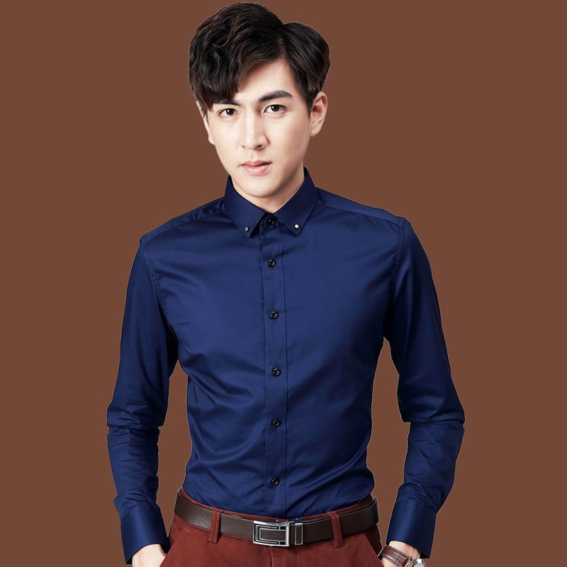 春款上新长袖白衬衫长袖职业衬衣韩版上修身商务正装抗皱男装衬衫