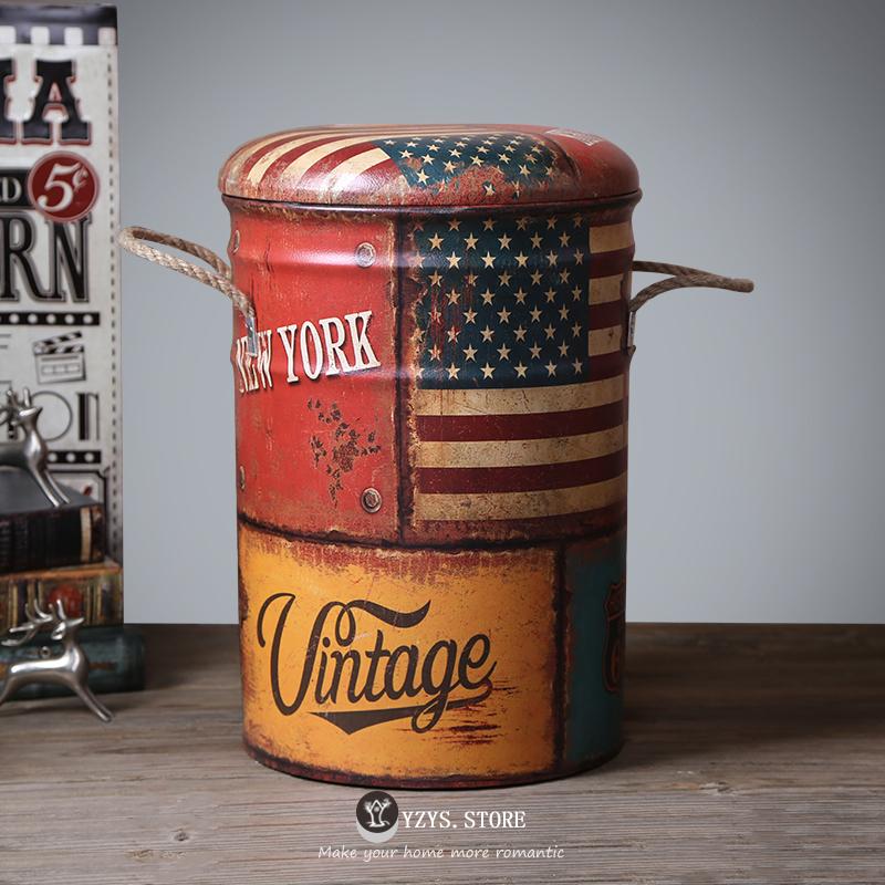 換鞋凳子鐵皮桶凳美式複古歐式鐵皮油桶吧台矮凳腳踏收納箱儲物凳