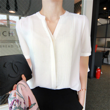 Very Immortal Chiffon Blouse Female Ocean Shirt 2019 New White Chiffon Female Short Sleeve Shirt Summer