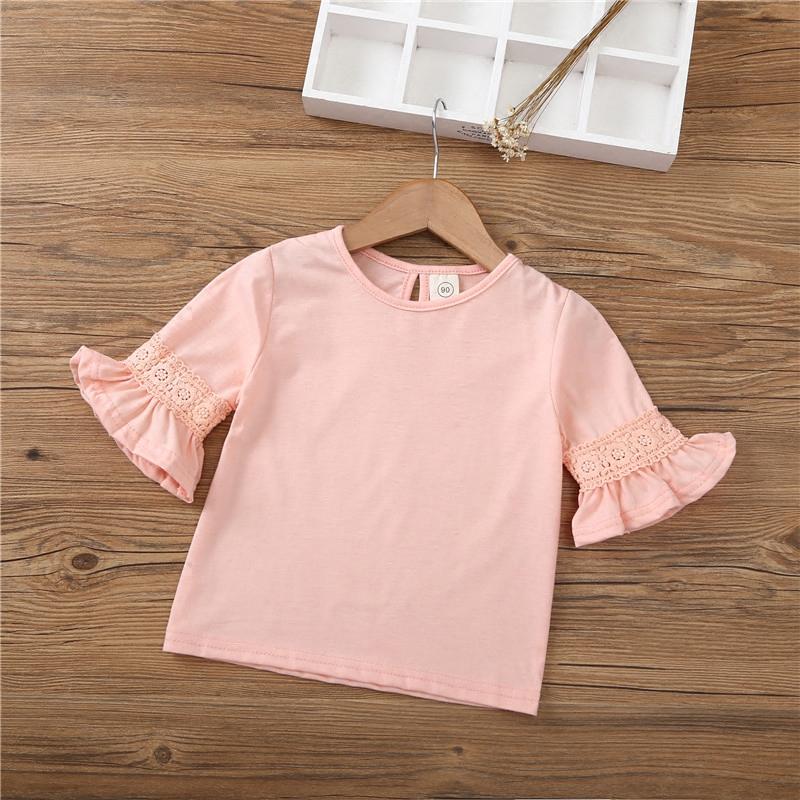 2018女童新款3T恤 夏棉质5时尚打底衫喇叭袖儿童上衣花边舒适透气