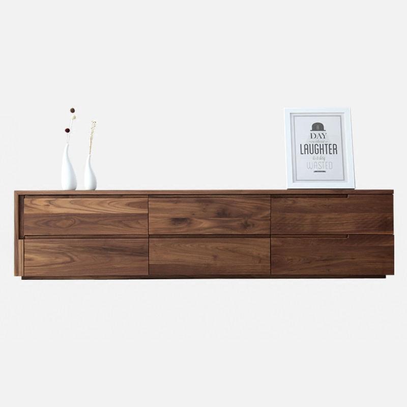 北欧の暗いクルミの木のテレビの箱の日本式の白いクヌギの実の木の視聴台の低い辺の戸棚の近代的な簡約の客間の家具