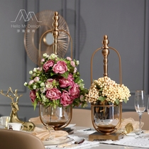 Neoclassical European model room home decoration living room glass simulation vase crafts metal flower Decoration