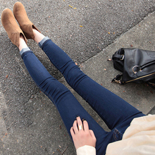 2015 chun xia han edition dark blue show thin tight little feet pants elastic pencil pants of height tide nine points jeans are female