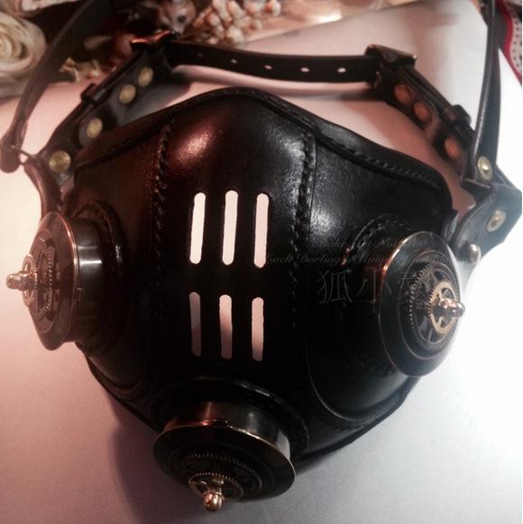 定制。俄罗斯蒸汽朋克 皮革纯铜 通口 防风半面罩面具 原创手工