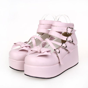 Pop princess shoes platform shoes high heeled shoes LOLITA bow pink dress shoes 9805