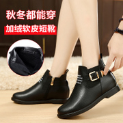 Martin boots women, New England in autumn and winter the wind round flat bottom increased crude with side zipper short boots and bare boots tide