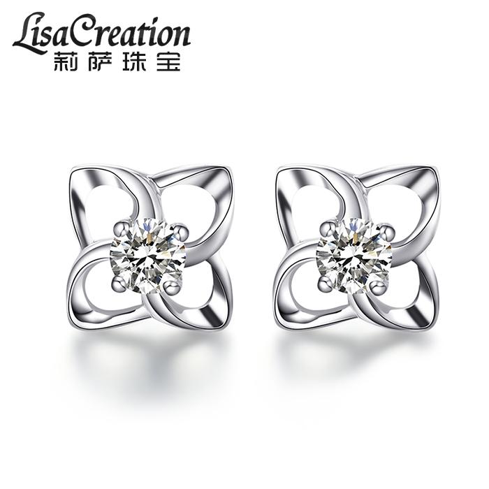莉萨珠宝  白18K金天然钻石耳环  铂金耳钉 单只耳饰 K金钻石耳钉