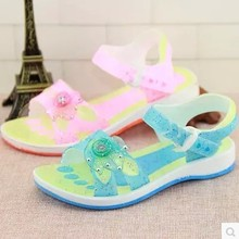 Children transparent glass slipper girls sandals girl jelly plastic shoes in summer it is waterproof plastic princess