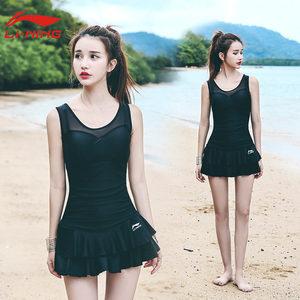 李宁游泳衣女士连体裙式保守平角遮肚显瘦性感大码泡温泉韩国泳装