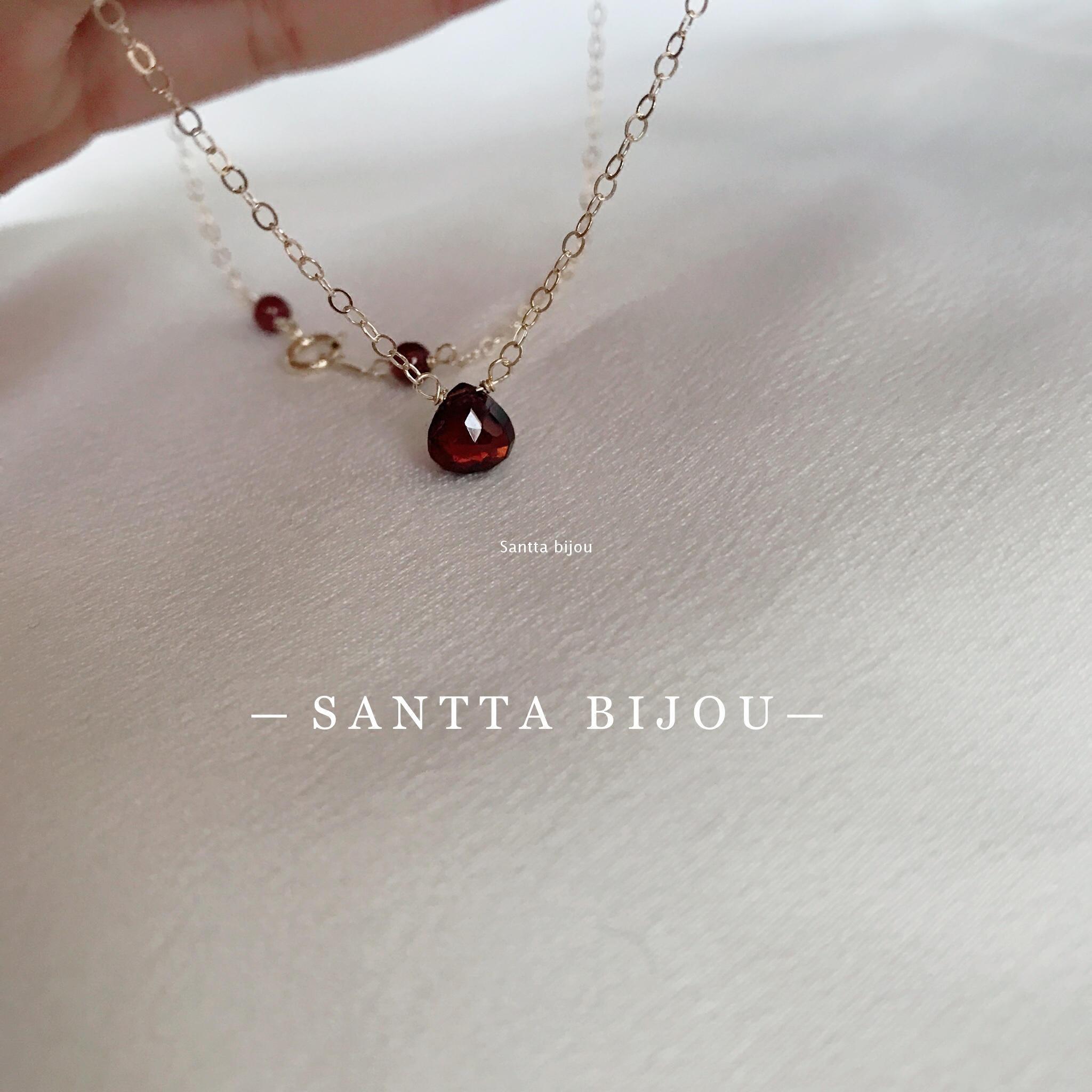 这是一颗美人痣 SANTTA  jonhnstonotite 石榴石 14k包金锁骨项链