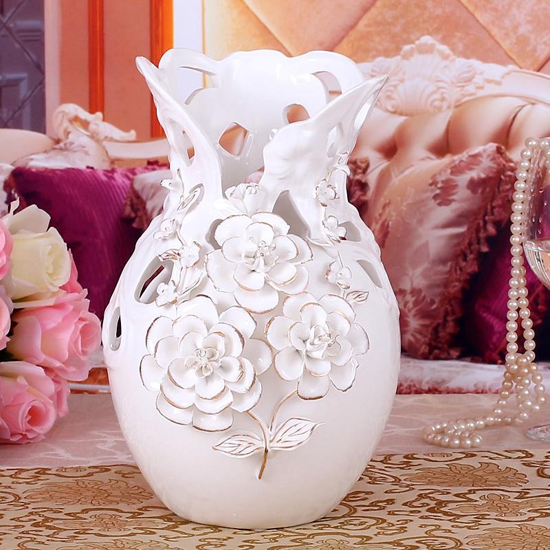 白色歐式陶瓷花瓶客廳擺件電視櫃房間家居裝飾品結婚 插花器大