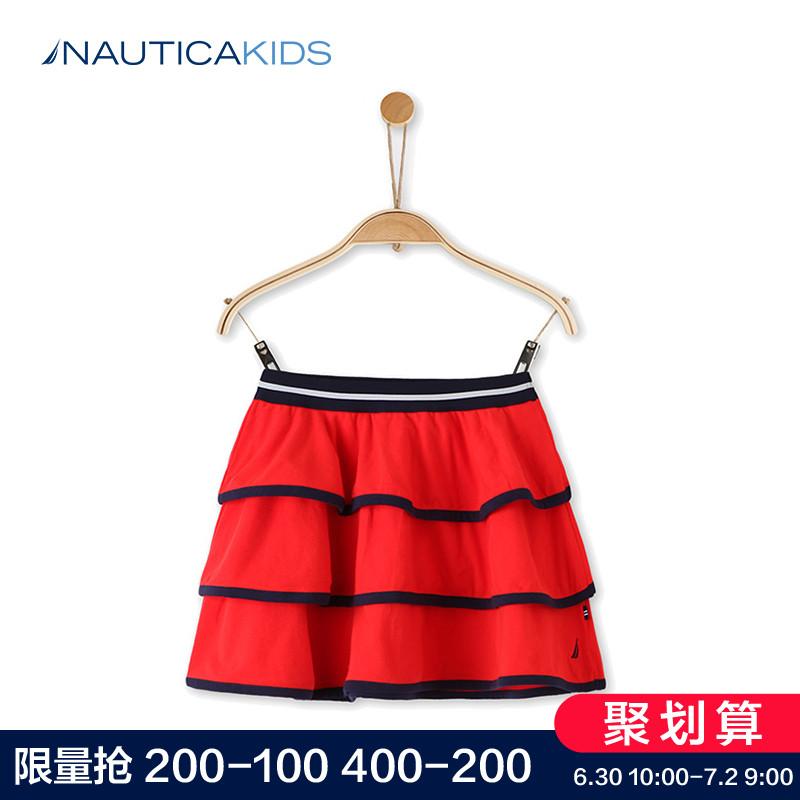 Nautica/ обещание император карта ребятишки девочки осень и зима юбка красный костюм детский платье принцессы торт юбка