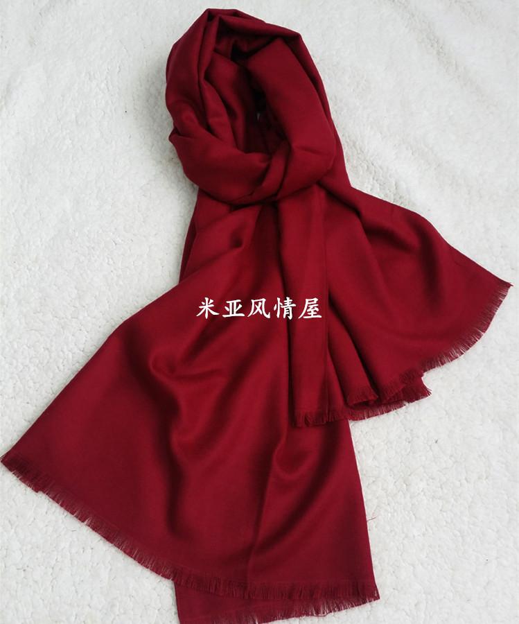 秋冬季长款纯色100%莫代尔时尚加厚围巾披肩两用酒红中国红保暖女