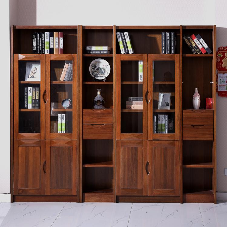 实木书柜胡桃木转角书柜二门三门四门六门组合书橱书架置物架特价
