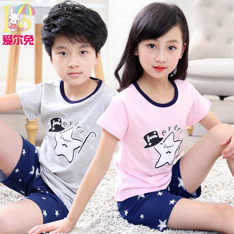 Летний костюм ребенок пижама девочки мальчиков домой одежда малый хлопок ребенок короткий рукав ребенок тонкая модель кондиционер костюм лето