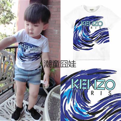 КЕН * ZO новый 2015 летние свежие и волны мальчиков и девочек хлопка t рубашка детей носить шею короткий рукав