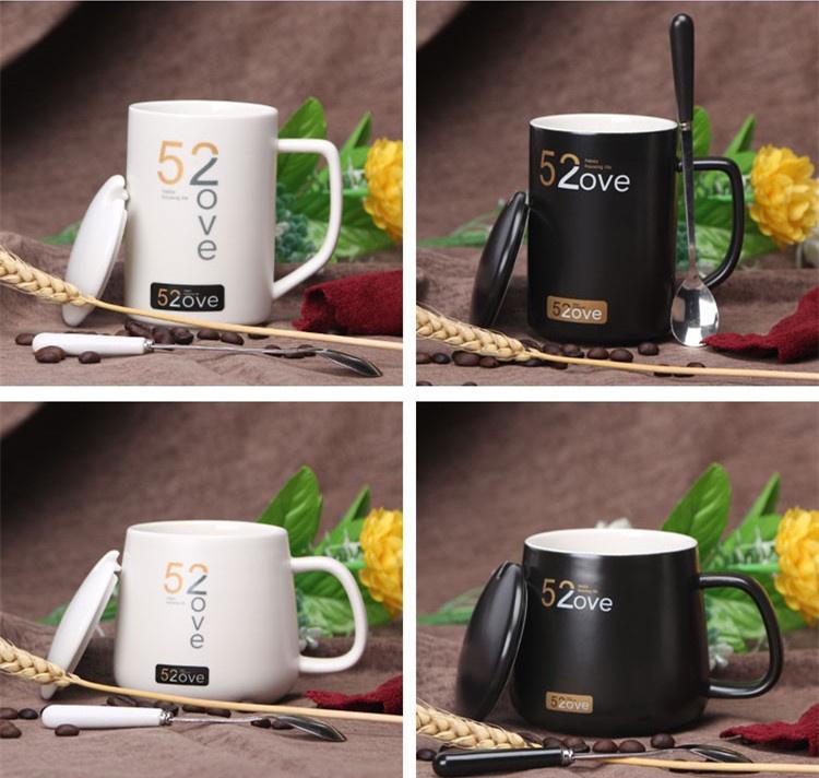 陶瓷情侣水杯一对 简约创意马克杯咖啡杯带盖勺520一辈子杯子韩版