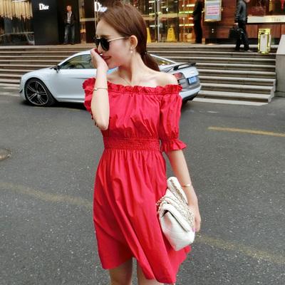 【实拍】一字肩度假连衣裙8315A-8888-P509(红色下架)
