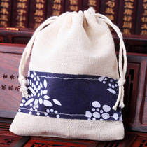 Green Flower bag bouquet drawstring buddha Beads Antique bag sachets bag cotton hemp bag hand string bag bracelet jewelry Bag