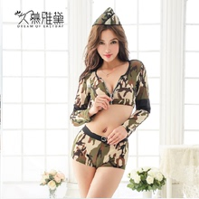 Long MuYaDai! Girls sexy night club party uniform suits Policewomen officer pajamas Interest temptation lingerie