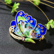 Thai ladies 925 Silver cloisonne Joker enamel Butterfly brooch blue burning quality brooch new