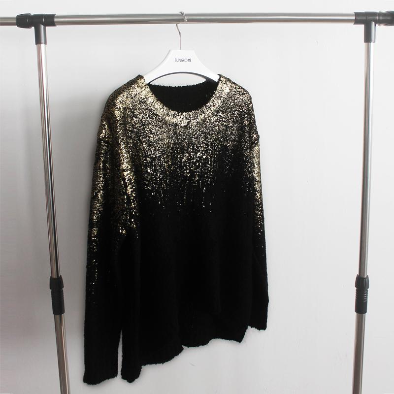 Европа и ретро моды металла спрей бронзированием градиент loose свитер девушка щели на хвост ласточки весны 2015